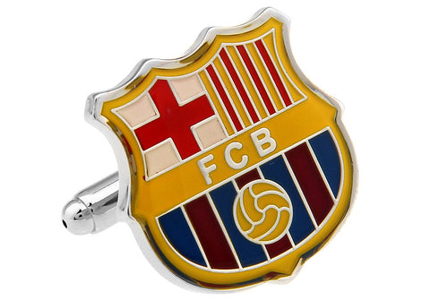 Novelty Cufflinks - Red and Yellow Soccer Cufflinks - Barcelona - The Little Link