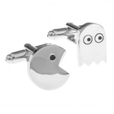 Silver Game Cufflinks - Pacman and Ghost