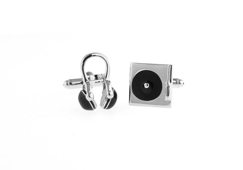 Silver and Black Hipster Music Cufflinks - DJ
