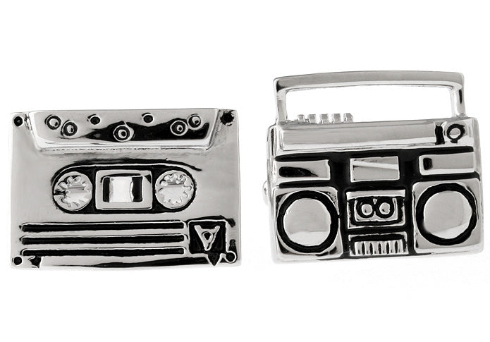 SIlver and Black Hipster Cufflinks - Retro Radio