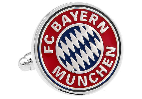 Novelty Cufflinks - Red and Silver Soccer Logo Cufflinks - Bayern Munchen - The Little Link