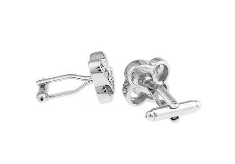 Silver and White Crystal Cufflinks - Infinite