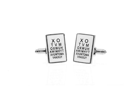 Silver and White Rectangle Alphabet Cufflinks - Eye Doctor