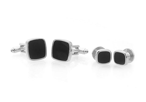 Black and Silver Square Tuxedo Studs - Sinatra