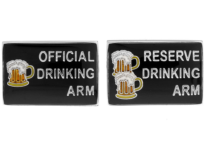 Black Novelty Cufflinks - Drinking Buddies