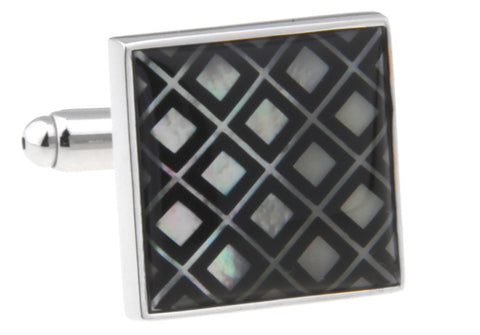 Black Square Pearl Cufflinks - Ellen