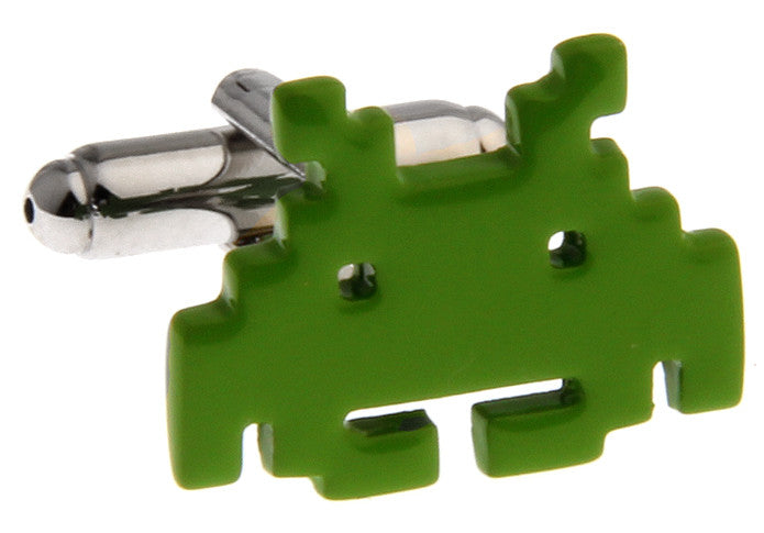 Green Geek Cufflinks - Green Robot