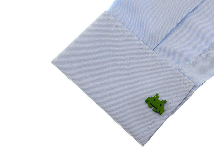 Novelty Cufflinks - Green Robot - The Little Link