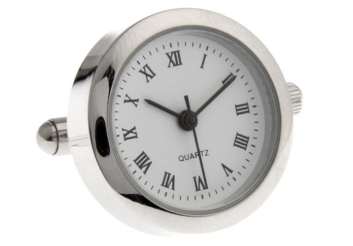 Novelty Cufflinks - White Watch Movement Cufflinks - Clock Jacob - The Little Link