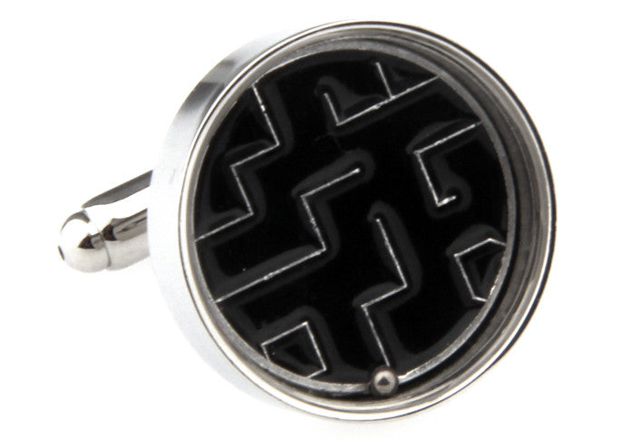 Black Novelty Cufflinks - Life's a Maze