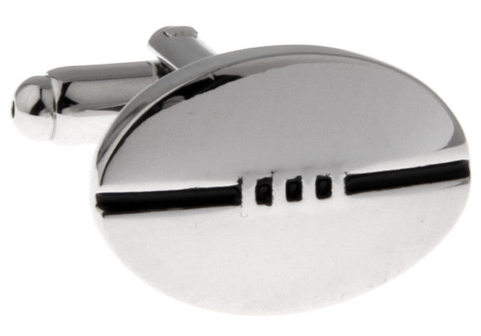 Silver Sports Cufflinks - Rugby Ball