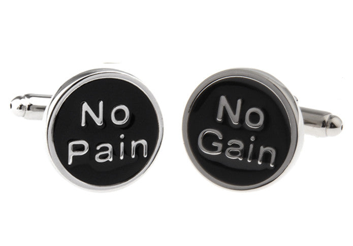 Silver and Black Novelty Cufflinks - No Pain No Gain