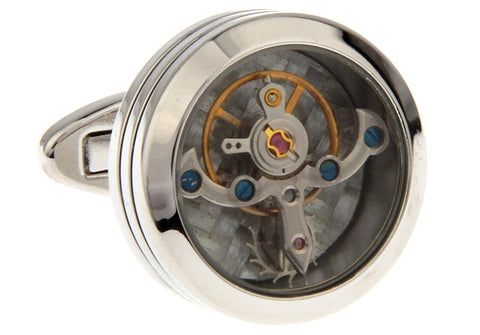 Silver Tourbillion Watch Movement Cufflinks - Stuart - Mechanical Industrial Metal