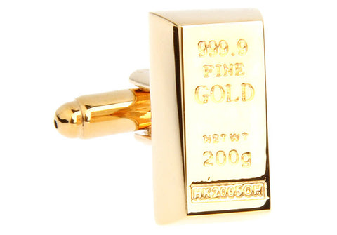 Gold Finance Cufflinks - Gold Bar