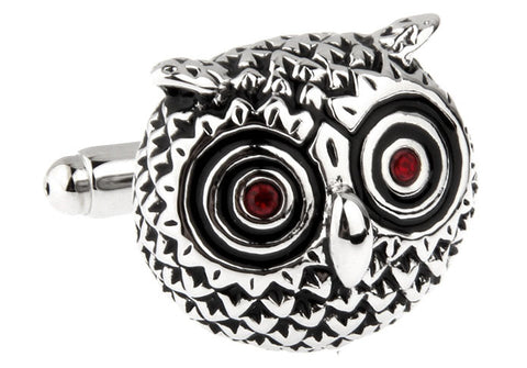 Silver Animal Cufflinks - Rustic Owl