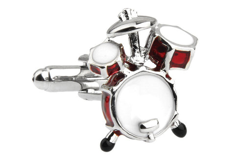 Red and White Music Cufflinks - Drummer