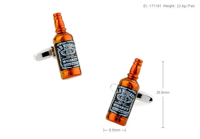 Novelty Cufflinks - Whiskey Bottle - The Little Link