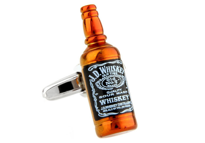 Brown Novelty Cufflinks - Whiskey Bottle
