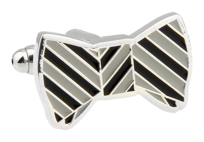 Classic Cufflinks - Black Novelty Stripe Cufflinks - Bow Tie Corey - The Little Link