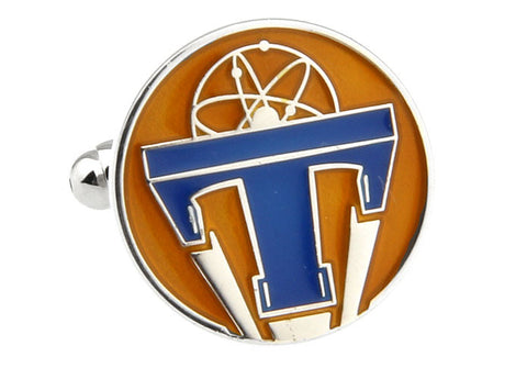 Orange and Blue Superhero Cufflinks - Tomorrowland Badge