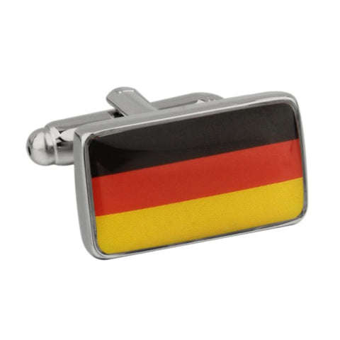 Yellow and Red Rectangle Flag Cufflinks - Germany Flag