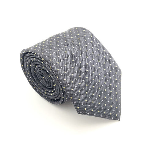 Grey and Yellow Polka Dot Tie - Ivan