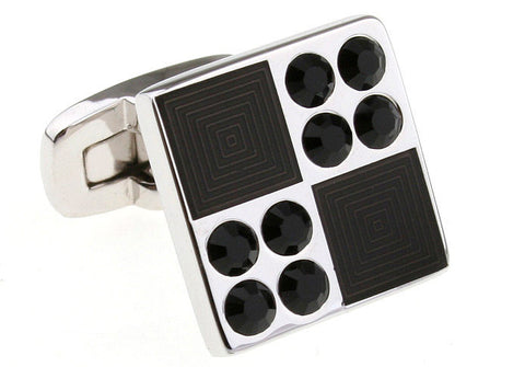 Silver and Black Square Novelty Cufflinks - Dominos