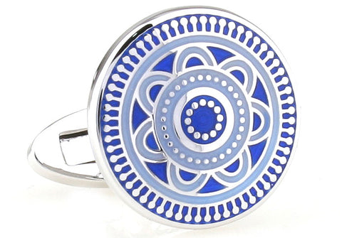 Classic Cufflinks - Silver and Blue Round Flower Cufflinks - China Blue - The Little Link