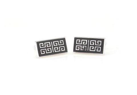 Black and Silver Rectange Classic Cufflinks - Reminisce