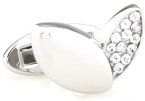 Silver and White Flower Cufflinks - Crystal Petals