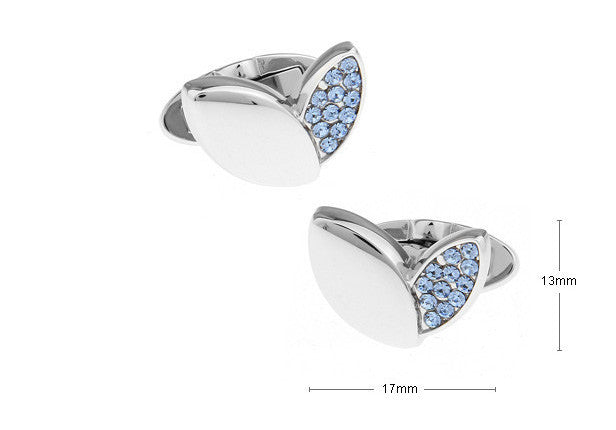 Novelty Cufflinks - Crystal Petals Blue - The Little Link