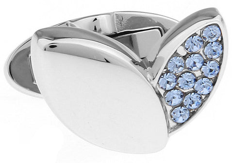 Silver and Blue Flower Cufflinks - Crystal Petals (Blue)