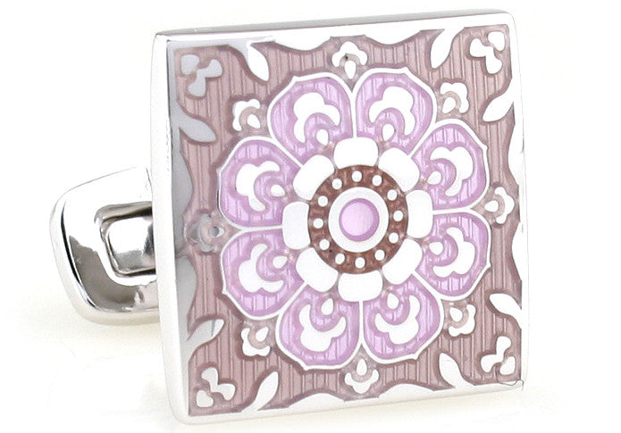 Silver and Pink Round Flower Cufflinks - Mural