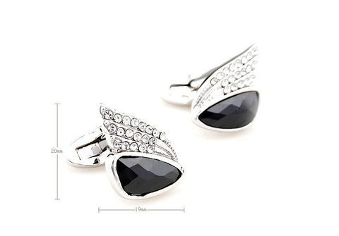 Black and Silver Crystal Jewel Cufflinks - Eternal Flight