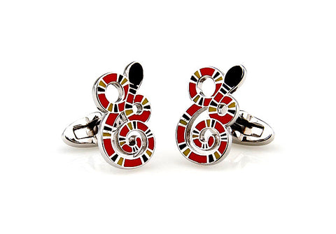 Red Novelty Snake Cufflinks - Snakey