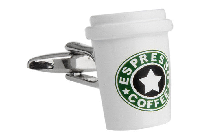 White and Green Hipster Cufflinks - Espresso