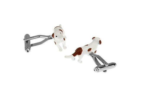 White and Brown Animal Cufflinks - Dog - Shadow