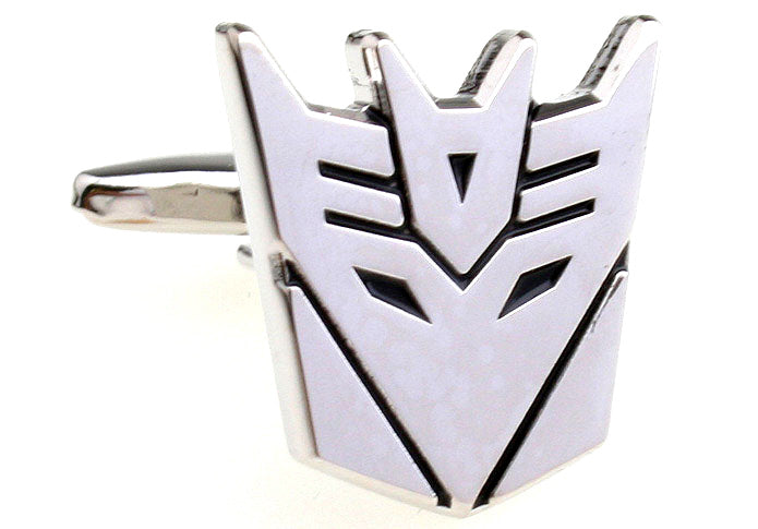 Silver Superhero Cufflinks - Transformers Decepticon
