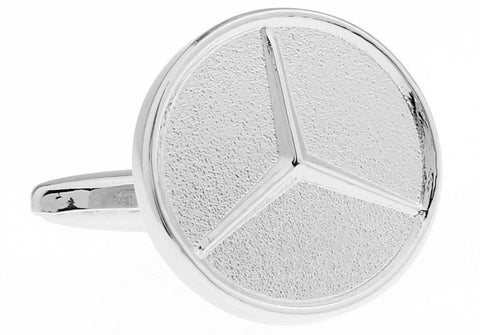 Novelty Cufflinks - Mercedes Benz Logo (Silver) - The Little Link