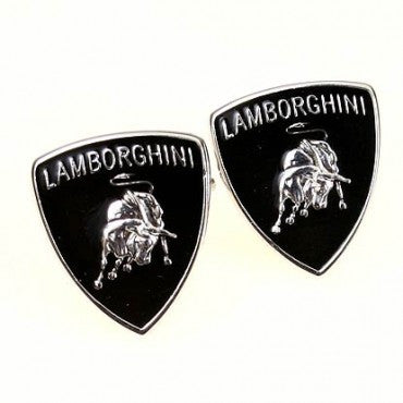 Silver and Black Car Logo Cufflinks - Lamborghini