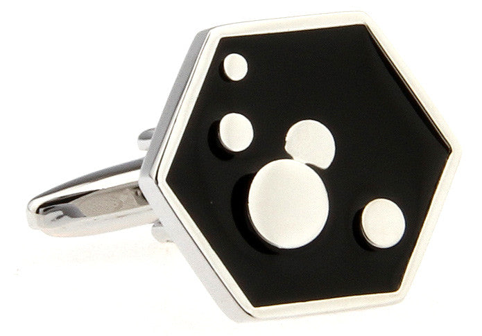 Black and White Classic Cufflinks - Hexagon