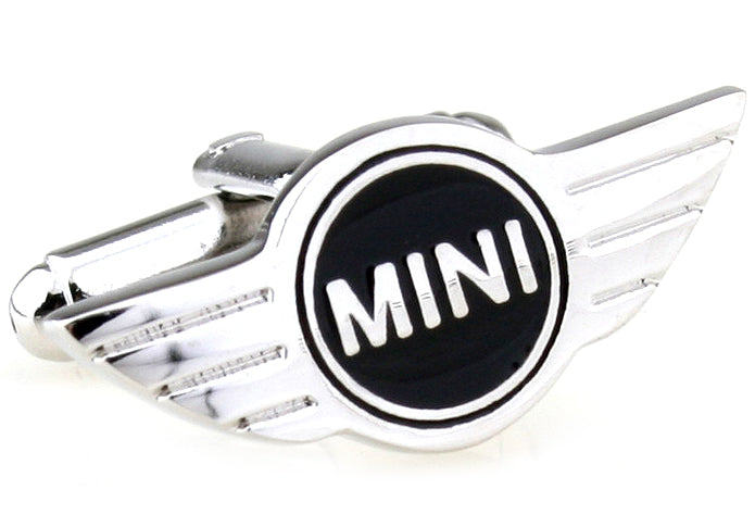Silver and Black Cars Cufflinks - Mini Cooper Logo