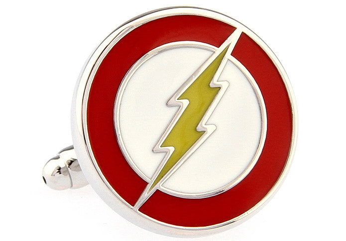 Red and Yellow Superhero Cufflinks - Lightning