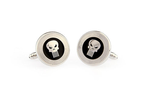 Silver and Black Novelty Cufflinks - Skull Head