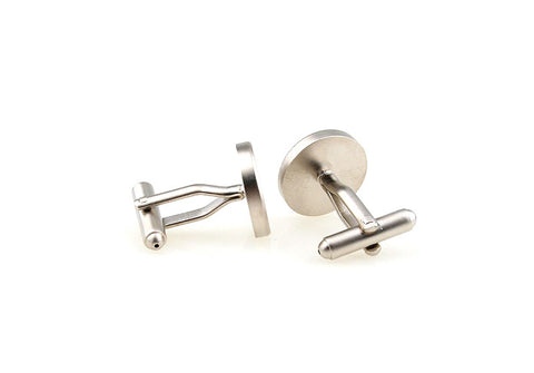 Silver Round Geek Cufflinks - Fingerprint