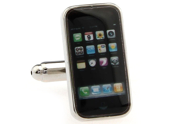Silver and Black Novelty Cufflinks - iPhone
