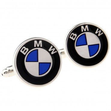 Novelty Cufflinks - Black and Blue Car Logo Cufflinks - BMW - The Little Link