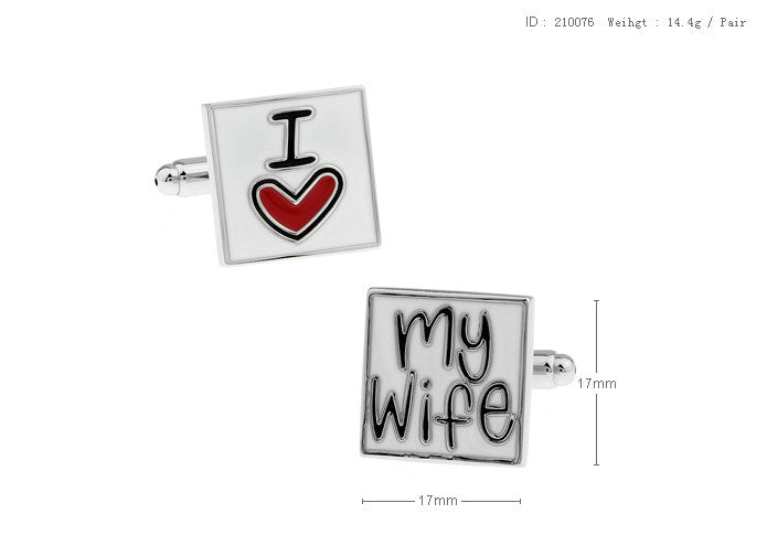 Novelty Cufflinks - I Love My Wife - The Little Link