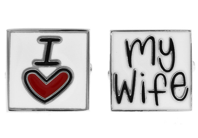 Silver and White Square Classic Cufflinks - I Love My Wife