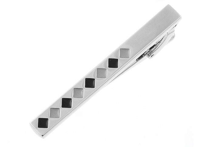Silver and Black Tie Pin- Tie Clip Julien